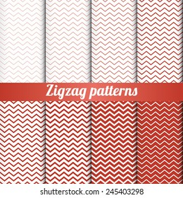 Set of 8 zigzag patterns with various density vector