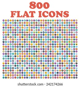 Set of 800 flat icons, for web, internet, mobile apps, interface design: business, finance, shopping, communication, fitness, computer, media, transportation, travel, easter, christmas, summer, device - Shutterstock ID 242174266