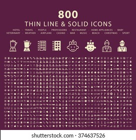 Set of 800 Thin Line and Solid Icons (Hotel, Travel, People, Professions, Restaurant, Home Appliances, Baby, Veterinary, Weather, Airplane, Casino, War, Music, Beach, Christmas and Sport)