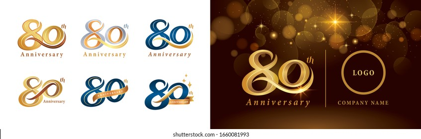 Set of 80th Anniversary logotype design, Eighty years Celebrate Anniversary Logo silver and golden, Vintage and Retro Script Number Letters, Elegant Classic Logo for Congratulation celebration event