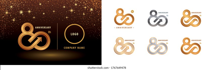 Set of 80th Anniversary logotype design, Eighty years anniversary celebration. Number 80  Logo silver and golden for celebration event, invitation, greeting, Arrow Infinity logo, template, flyer, book