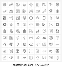 Set of 81 Simple Line Icons of idea; medical treatment; focus; broken arm; arm fracture Vector Illustration