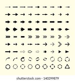 set of 81 universal arrows. vector eps8