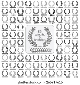 Set of 85 wreaths and branches. Vector illustration. Wreaths collection IV.