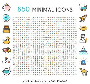 Set of 850 Minimalistic Solid Line Colored . Isolated Vector Elements