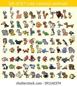 Set of 87 cute cartoon animals