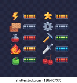 Set of 8-bit elements, life bar, progressor, stamina, power, energy, mana level, money reserve vector illustrations. Retro, 8-bit style, pixel elements for game themed designs. Arcade icons.