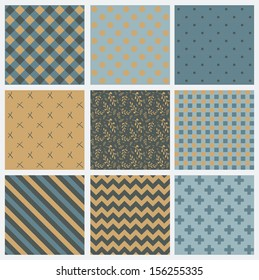 Set of 9 abstract seamless background