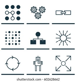 Set Of 9 AI Algorithm Machine Learning Icons. Includes Branching Program, Related Information, Lightness Mode And Other AI Related Algorithm Icon Symbols. Beautiful Design Elements.