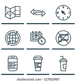 Set Of 9 Airport Icons. Can Be Used For Web, Mobile, UI And Infographic Design. Includes Elements Such As Crossroad, Calculation, Appointment And More.