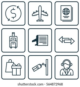 Set Of 9 Airport Icons. Includes Luggage, Operator, Timetable And Other Symbols. Beautiful Design Elements.