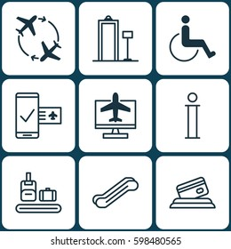 Set Of 9 Airport Icons. Includes Security Scanner, Internet Ticket, Information And Other Symbols. Beautiful Design Elements.