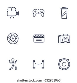 Set Of 9 Amusement Outline Icons Set.Collection Of Movie Cam, Clapperboard, Dancing Man And Other Elements.