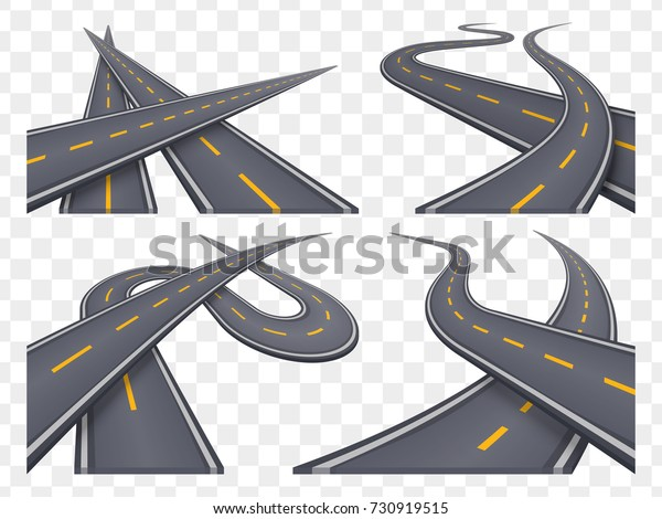 Set 9 Asphalt Road Concepts Perspective Stock Vector (Royalty Free