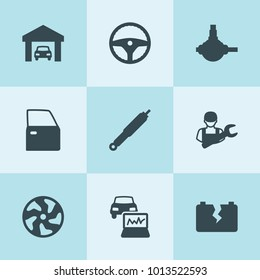 Set of 9 auto filled icons such as alloy wheel, steering wheel, suspension, car door, spherical bearing