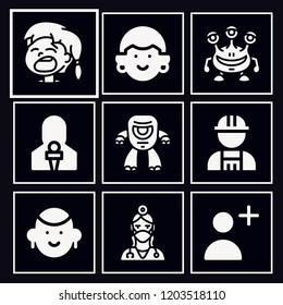Set of 9 avatar filled icons such as girl, worker, dentist, follow, news reporter, cyclops, monster
