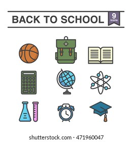 Set of 9 back to school icons.