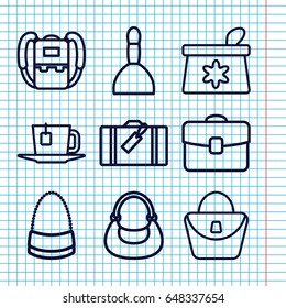 Set of 9 bag outline icons such as luggage, backpack, spa bag, tea
