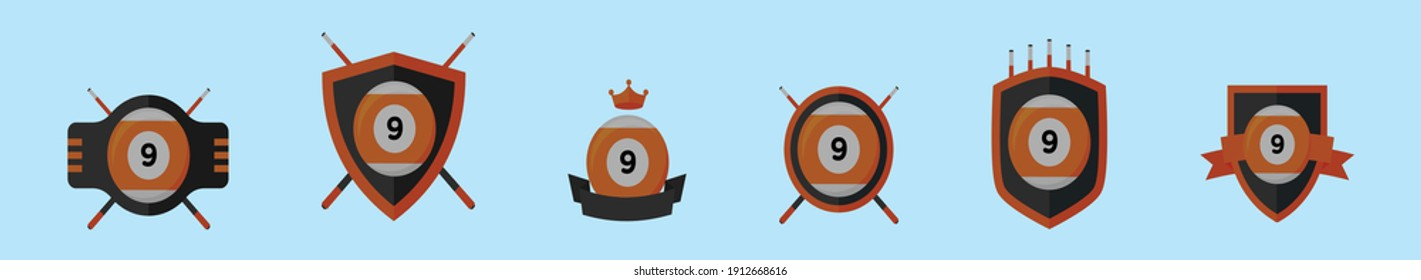 set of 9 ball logo cartoon icon design template with various models. modern vector illustration isolated on blue background