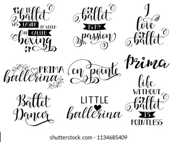 set of 9 ballet hand lettering. Modern calligraphy. Great for dance studio decor, merch, apparel design. vector illustration.