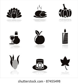 set of 9 black thanksgiving day icons