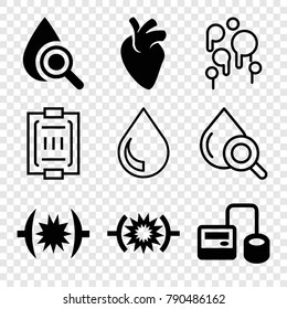 Set of 9 blood filled and outline icons such as blod pressure tool, pressure, drop under magnifier, blood pressure measure, drop, blood