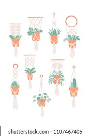 Set of 9 boho inspired plant hangers with various indoor houseplants. Hand drawn vector illustration.