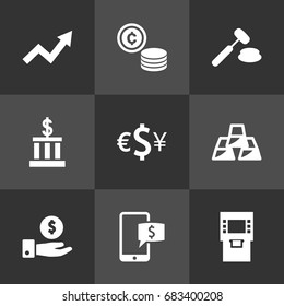 Set Of 9 Budget Icons Set.Collection Of Judge, Save Money, Ingot And Other Elements.