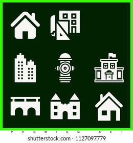 Set of 9 buildings filled icons such as building, home icon silhouette, house outline, hydrant, blueprint, bridge, pylon, school