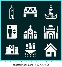 Set of 9 buildings filled icons such as house outline, cell tower, bridge, hospital buildings, church, mosque, elevator