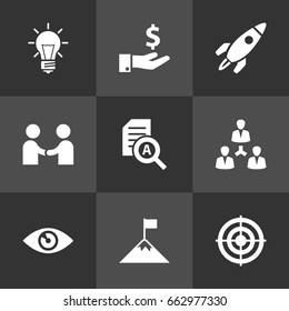 Set Of 9 Business Icons Set.Collection Of Sponsor, Achievement, Bulb And Other Elements.