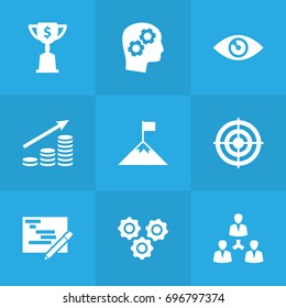 Set Of 9 Business Icons Set.Collection Of Writing, Achievement, Vision And Other Elements.