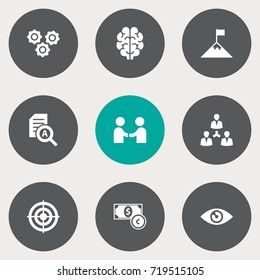 Set Of 9 Business Icons Set.Collection Of Intelligence, Gear, Achievement And Other Elements.