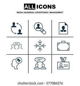 Set Of 9 Business Management Icons. Includes Cooperation, Authentication, Open Vacancy And Other Symbols. Beautiful Design Elements.