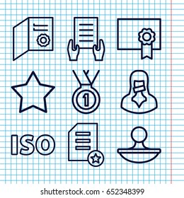 certificate icon set 9 outline certificate stock vector royalty