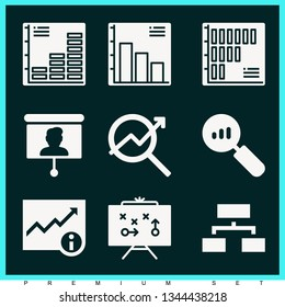 Set of 9 chart filled icons such as analytics, presentation, data, organization