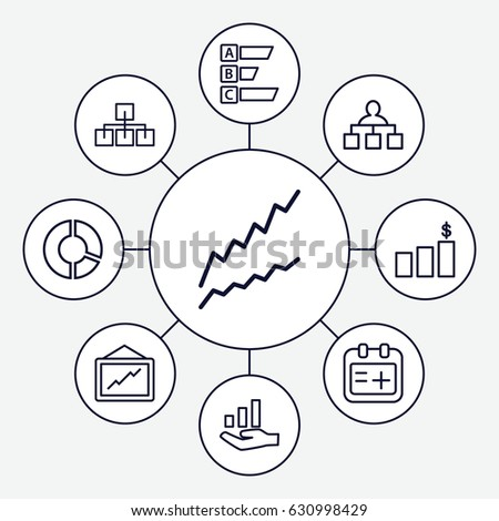 Set 9 Chart Outline Icons Such Stock Vector Royalty Free 630998429