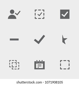 Set of 9 choice filled icons such as selections, selection, user approve, checked selection, half star, check note, minus, busy calendar