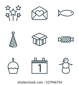 Set Of 9 Christmas Icons. Can Be Used For Web, Mobile, UI And Infographic Design. Includes Elements Such As Sweet, Birthday Cake, Festive Fireworks And More.