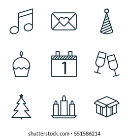 Set Of 9 Christmas Icons. Includes Decorated Tree, Celebration Letter, Open Cardboard And Other Symbols. Beautiful Design Elements.