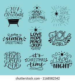 Set of 9 Christmas inscriptions with lettering O holy night. Joy, hope, love, peace. Season greetings. Card. Winter. Scrap booking