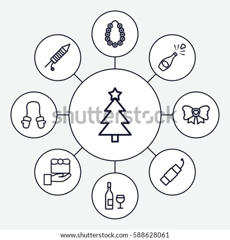 Set 9 Christmas Outline Icons Such Stock Vector Royalty Free