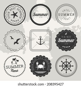 Set of 9 circle summer icons, labels, badges, frames and borders on the chalkboard background