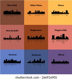 Set of 9 Cities in State of New York (Albany, New York, Ithaca, Syracuse, New Rochelle, White Plains, Rochester, Binghamton, Niagara Falls)