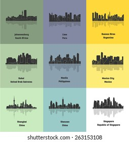 Set of 9 City (Johannesburg, Lima, Buenos Aires, Dubai, Manila, Mexico City, Shanghai, Shenzen, Singapore)