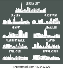 Set of 9 city in New Jersey ( Jersey City, New Brunswick, Newark, Parsippany, Trenton, Paterson, Hackensack, Camden, Elizabeth)