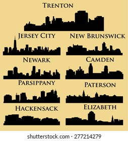 Set of 9 city in New Jersey ( Jersey City, New Brunswick, Newark, Parsippany, Trenton, Paterson, Hackensack, Camden, Elizabeth )