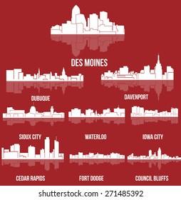 Set of 9 City silhouette in Iowa (Des Moines, Dubuque, Davenport, Cedar Rapids, Iowa City, Sioux City, Waterloo, Fort Dodge, Council Bluffs )