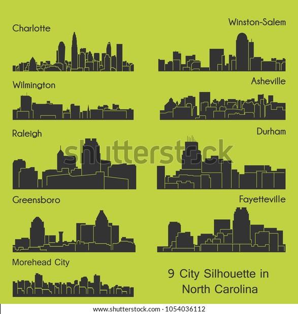 Set 9 City Silhouette North Carolina Stock Vector Royalty Free