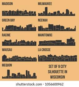 Set of 9 City Silhouette in Wisconsin ( Madison, La Crosse, Neenah, Wausau, Racine, Manitowoc, Green Bay, Mequon, Milwaukee )